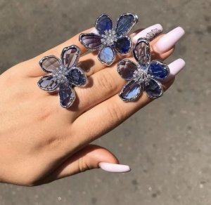 Designer Ring Blume Kristall in blau Gr. Neu