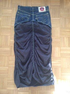 Jupe taille haute bleu foncé-noir
