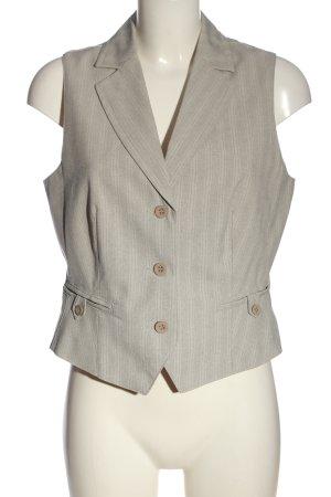 DESIGNER'S Waistcoat light grey-natural white striped pattern wet-look