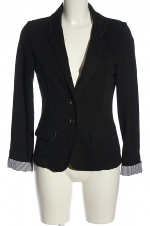 DESIGNER'S Knitted Blazer black-white striped pattern business style