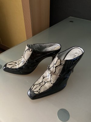 Sandalo con tacco nero-bianco