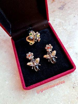 Designer Schmuckset mit hochwertigen funkelnden Bernstein Zirkonia Blumen Bienen antiksilberfarben Vintage Ohrringe Ring