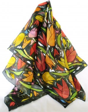 "DESIGNER SEIDENTUCH ""pop art black tulip"""