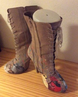 Chic High Heel Boots light brown leather