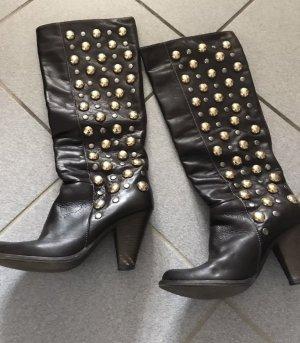 Designer Stiefel Marke: Vera Gomma, Größe 38 die dunkelbraun mit Nieten NP: 298€ echt Leder, BoHO
