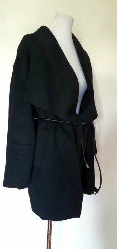 Designer Wollmantel mit Ledergürtel Handarbeit Gr. 38-40