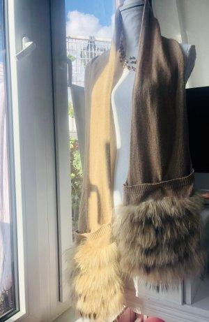Designer Xxl WinterSchal Stola mit Echtpelz beige hellbraun