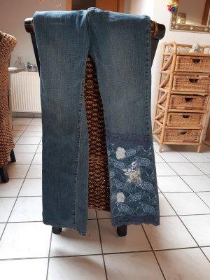 kate landry Jeansowe spodnie dzwony szary niebieski
