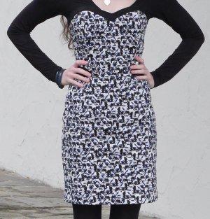 Designermarke NAF NAF, Bandeaukleid, schulterfreies Kleid, Träger inkl, 34/ XS, blau-schwarz (Vogelprint), nagelneu