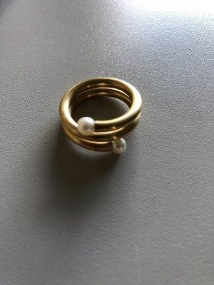 Designerring matt spiralförmig mit 2 echten Perlen Gr.56