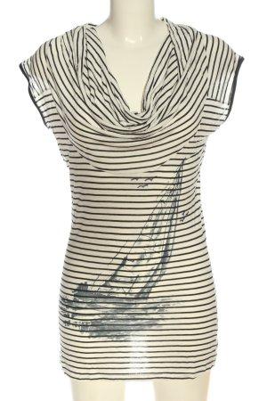 Designers T-shirt rayé crème-noir imprimé avec thème style décontracté