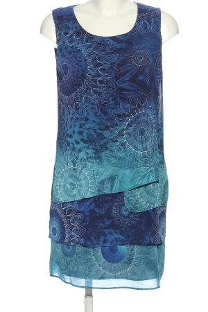 Desigual Blusenkleid blau-türkis abstraktes Muster Casual-Look