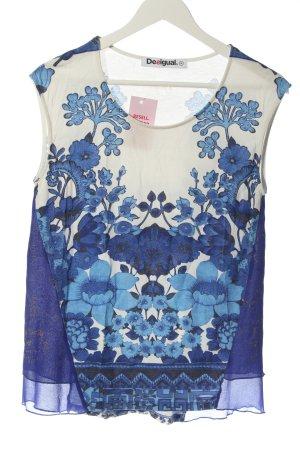 Desigual ärmellose Bluse blau-wollweiß Blumenmuster Casual-Look