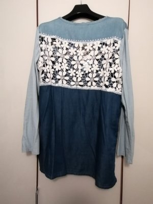 Desigual Koronkowa bluzka niebieski
