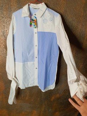 Desigual Blusen Hemd blau weiß S neu