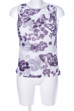 Desigual Blusentop weiß-lila abstraktes Muster Casual-Look