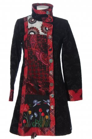 Desigual bodenlanger Mantel schwarz-rot abstraktes Muster Elegant