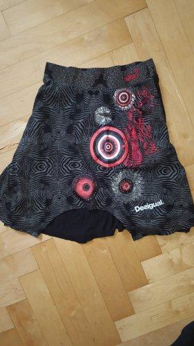 Desigual Jupe asymétrique noir-rouge coton
