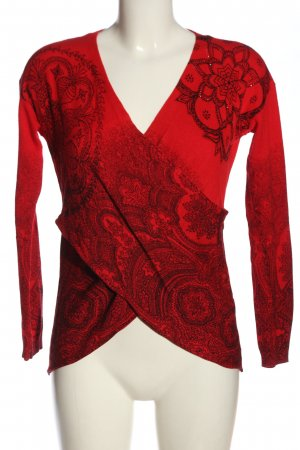 Desigual Cienki sweter z dzianiny czerwony-czarny Abstrakcyjny wzór