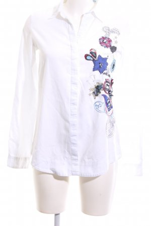 Desigual Hemd-Bluse weiß Mustermix Casual-Look