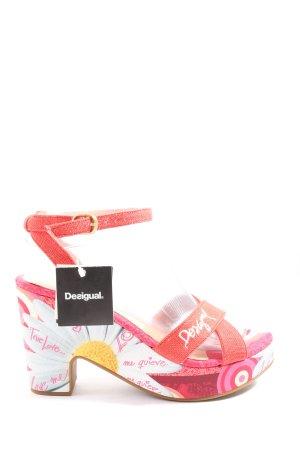 Desigual High Heel Sandaletten pink-weiß Blumenmuster Casual-Look