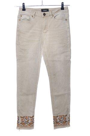 Desigual Pantalon taille haute blanc cassé motif de fleur style décontracté