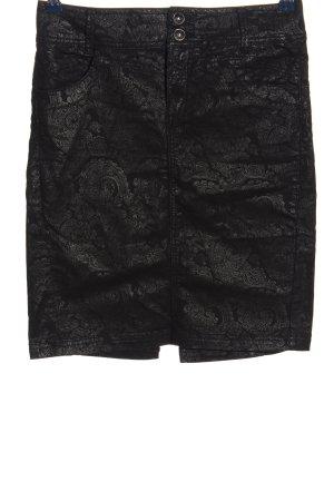 Desigual High Waist Rock schwarz-silberfarben Allover-Druck Casual-Look