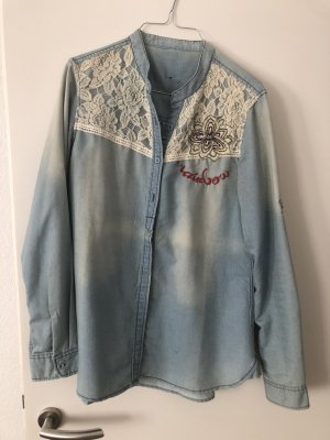 Desigual Blouse en jean bleu clair
