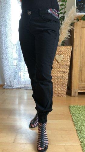 Desigual Jeans vita bassa nero-rosso