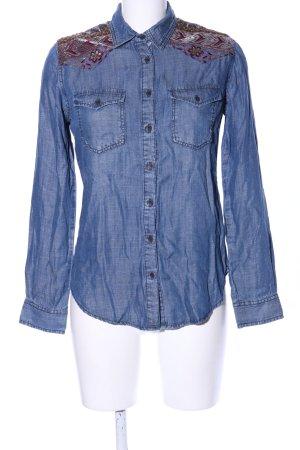 Desigual Jeansowa koszula niebieski Abstrakcyjny wzór W stylu casual