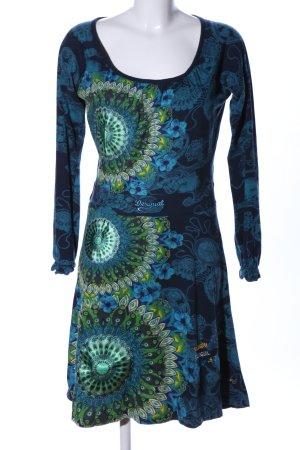 Desigual Robe en jersey bleu-vert motif de fleur style décontracté