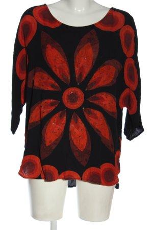 Desigual Bluzka przez głowę czarny-czerwony Wzór w kwiaty W stylu casual