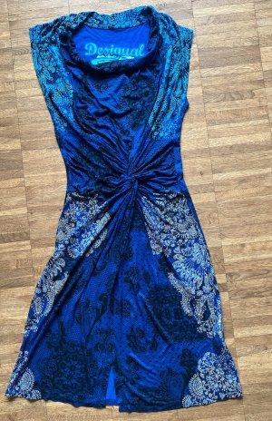 desingual Jersey Dress blue-light blue viscose