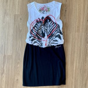 Desigual Sukienka z dżerseju czarny-biały