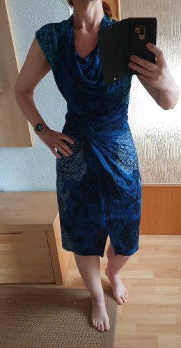 DESIGUAL Kleid Midi Sommerkleid Knielang Blau gemustert Wasserfall Ausschnitt S