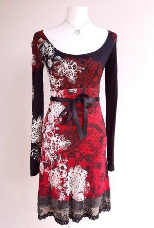 Desigual Kleid Rot Schwarz Midikleid mit Spitze und Gürtel in XS