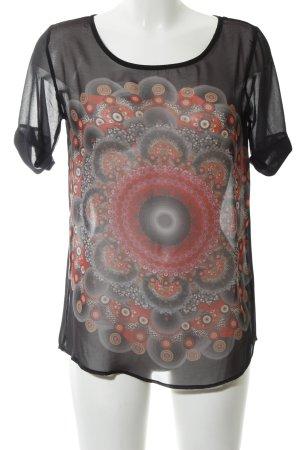 Desigual Kurzarm-Bluse schwarz abstraktes Muster Casual-Look