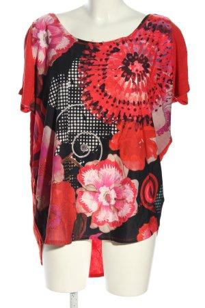 Desigual Kurzarm-Bluse rot-schwarz Blumenmuster Business-Look