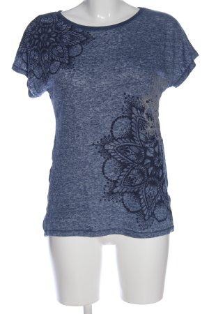 Desigual Kurzarm-Bluse blau-schwarz Blumenmuster Casual-Look