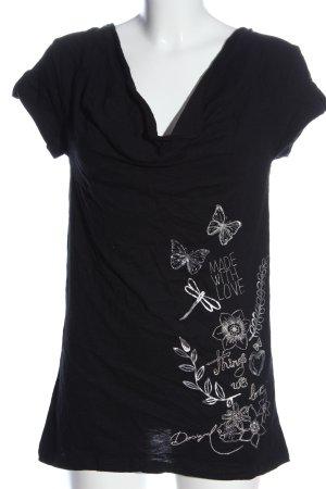 Desigual V-Ausschnitt-Shirt blau-weiß Schriftzug gestickt Casual-Look