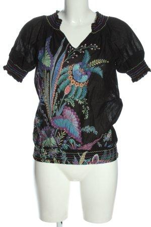 Desigual Kurzarm-Bluse schwarz Motivdruck Casual-Look