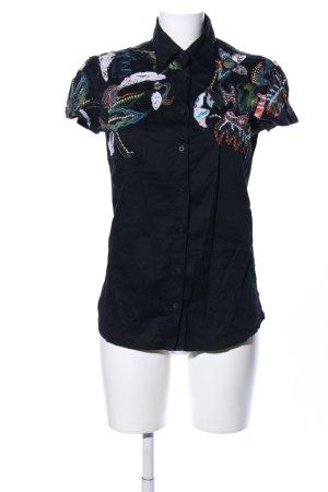 Desigual Camisa de manga corta negro estampado temático look casual