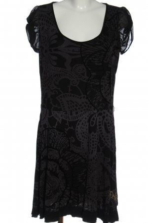 Desigual Shortsleeve Dress black-brown embroidered lettering casual look