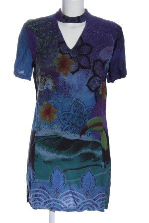 Desigual Vestido de manga corta azul-lila estampado temático look casual