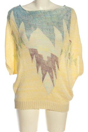 Desigual Sweater met korte mouwen sleutelbloem-blauw abstract patroon