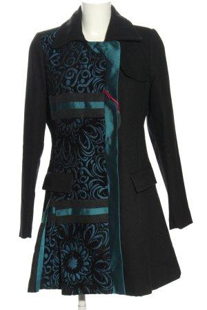 Desigual Cappotto corto nero-blu motivo astratto stile casual