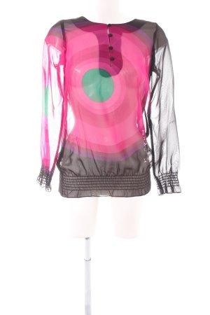 Desigual Langarm-Bluse abstraktes Muster Casual-Look