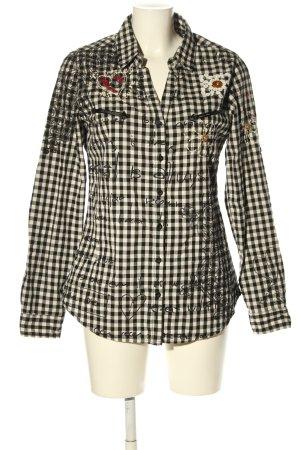 Desigual Langarmhemd creme-schwarz Allover-Druck Casual-Look