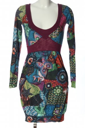 Desigual Sukienka z długim rękawem Abstrakcyjny wzór Elegancki