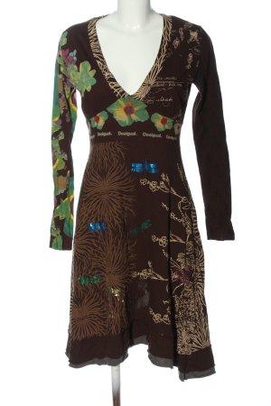 Desigual Vestido de manga larga marrón-verde look casual